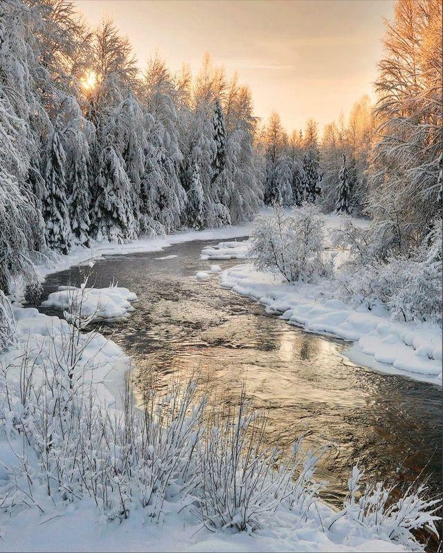 зима, карелия, рассвет, река Январский солнцепекphoto preview