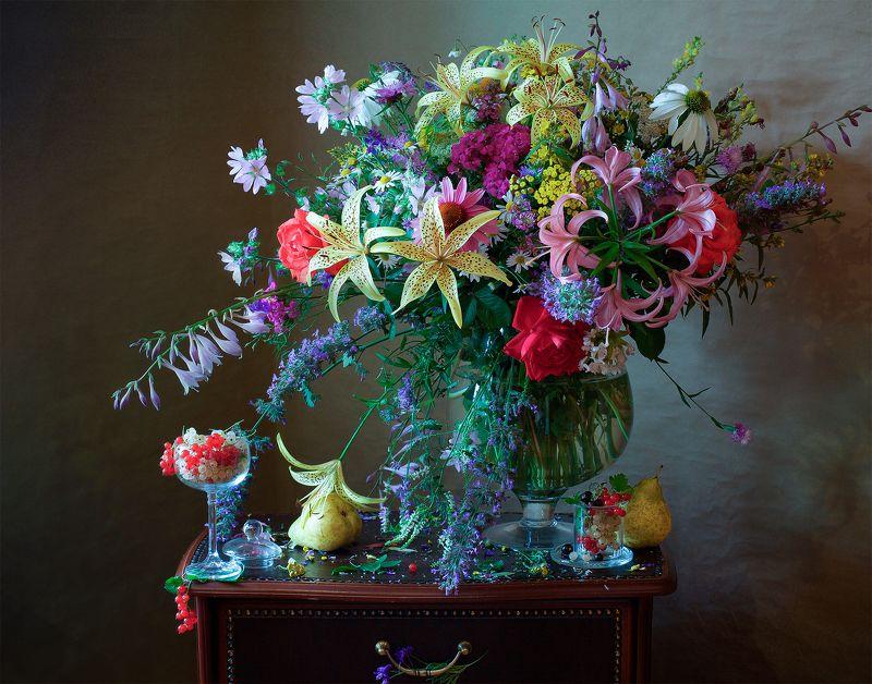 миламиронова, фотонатюрморт, букет, цветы, лето, ягоды, разнотравье, фрукты, красота Вот и лето пришло...photo preview