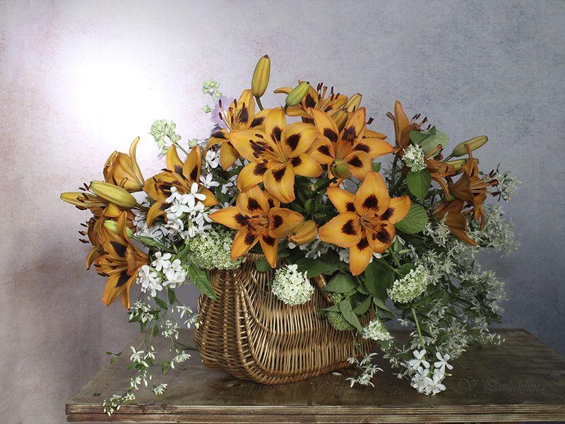 натюрморт,цветы,лилии,лето,вера павлухина, Рыжая компания .photo preview