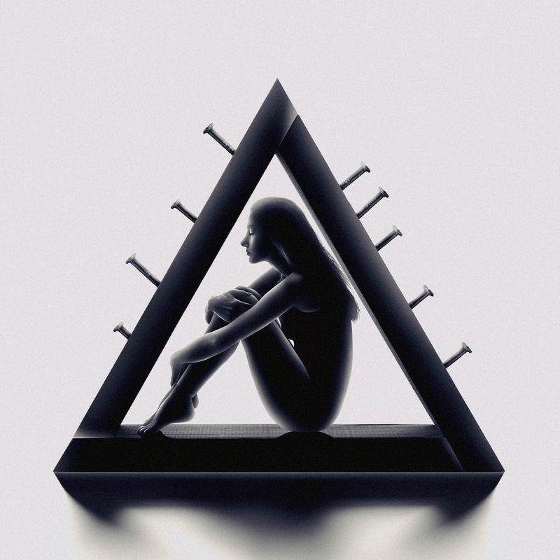 silhouette, dark, light, conceptual, fine art, art, shield, nail, woman, female, portrait, surreal, triangle The Shieldphoto preview