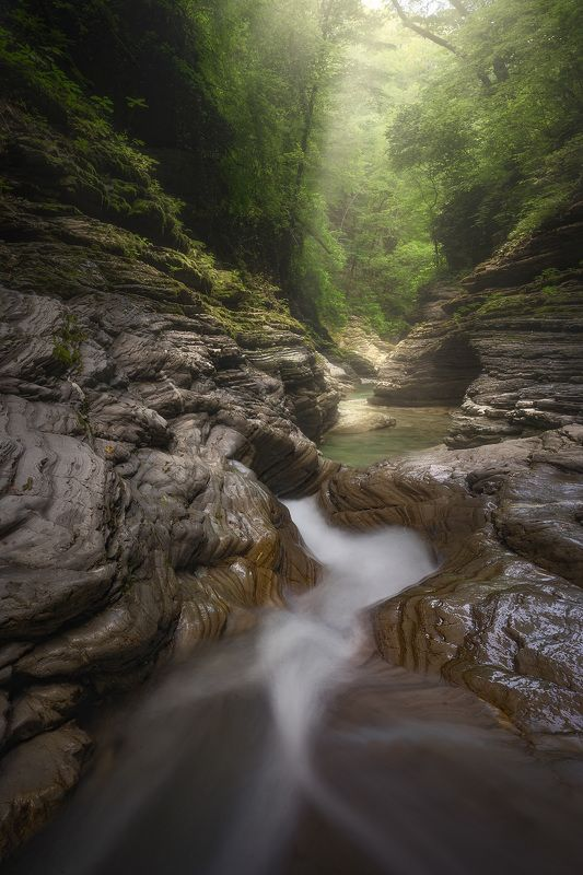 горы, речка, закат, каньон Река Бешенкаphoto preview