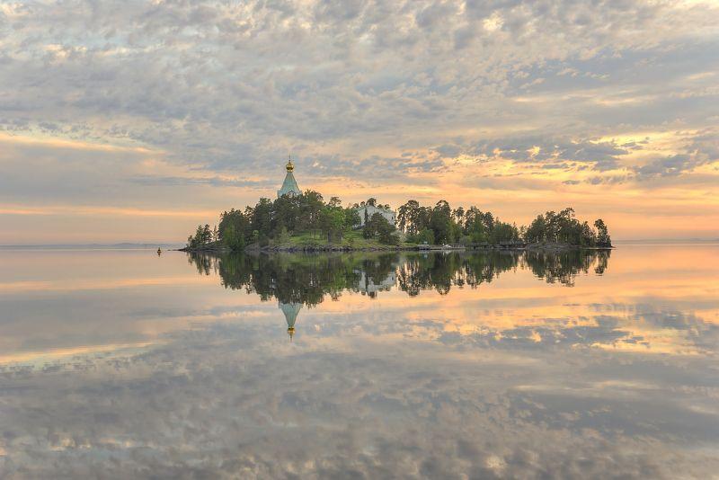 лето, утро, остров, монастырь, церковь photo preview