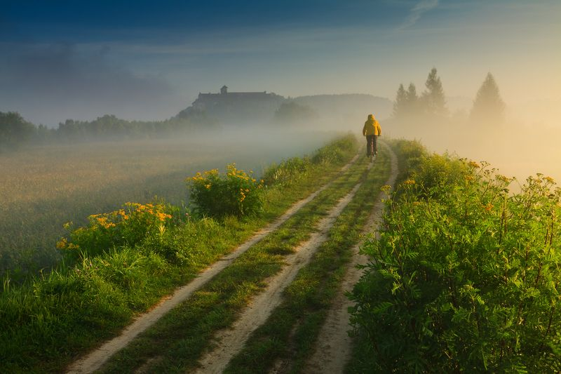 poland, tyniec, golden hour, summer, yellow, flowers, meadow, abby, sunrise,  cyclist, tranquility, solitary, outdoor, lesser poland, monastery, heritage, europe, mist, fog, quiet, calm, natural light, krakow, польша, монастырь, утро, лето, краков, тынец Road to Tyniecphoto preview