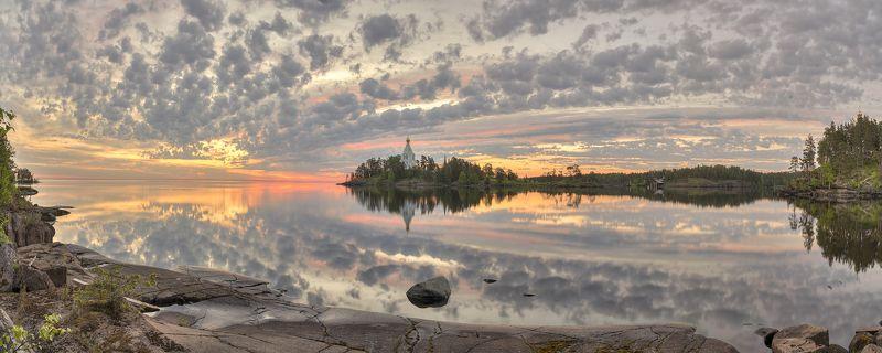 лето, утро, озеро, ладога, архипелаг, монастырь, церковь photo preview