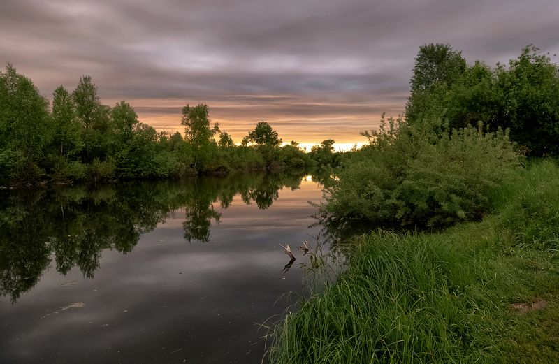 вечер.,река, закат. Вечер  у  реки.photo preview