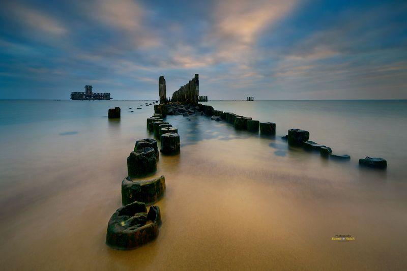 sea, sunrise, clouds landscape, sand, palisade, Babie Doły photo preview