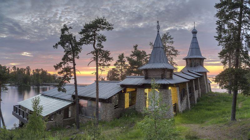 лето, вечер, озеро, ладога, архипелаг, монастырь, церковь photo preview