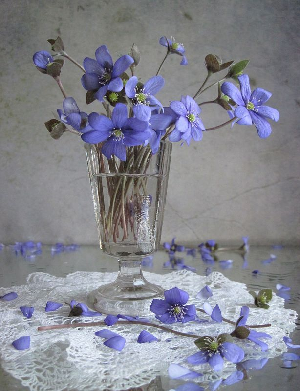 цветы, букет, фиалки, рюмка, винтаж Фиалкиphoto preview