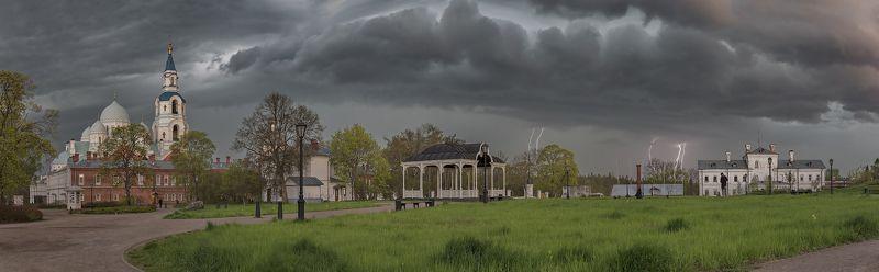 весна, монастырь, вечер, гроза photo preview