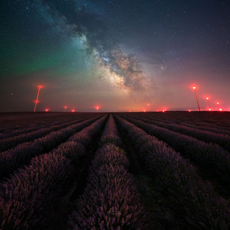 Lavender mood, Milky Way, Airglow and Wind generatorsphoto preview
