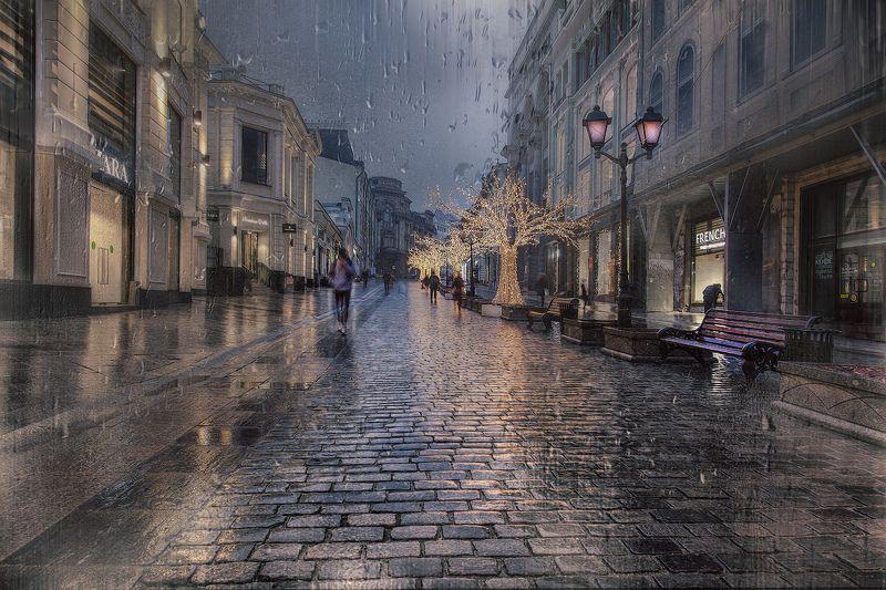 москва, город, вечер, осень, дождь, улица, дома, фонари, прохожие Снова дожди...photo preview