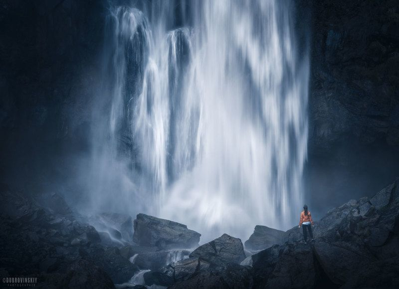 водопад, девушка, приэльбрусье, джилы-су, султан, кавказ Один на одинphoto preview