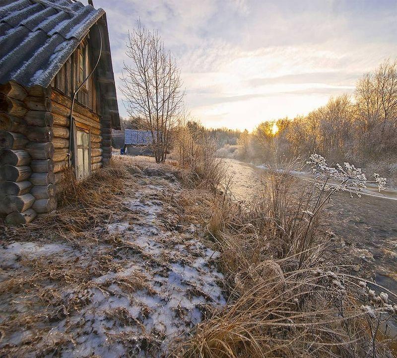 деревня, архитектура, баня, зима Хрустальное утроphoto preview