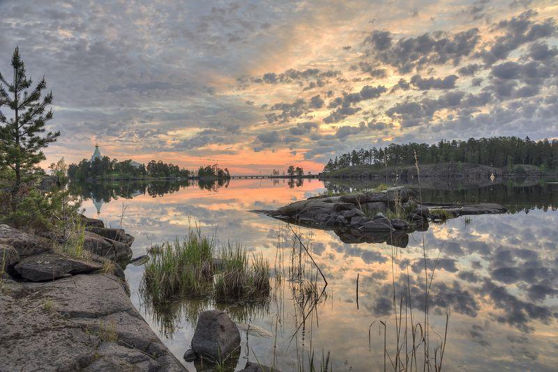 лето, утро, озеро, острова, церковь photo preview