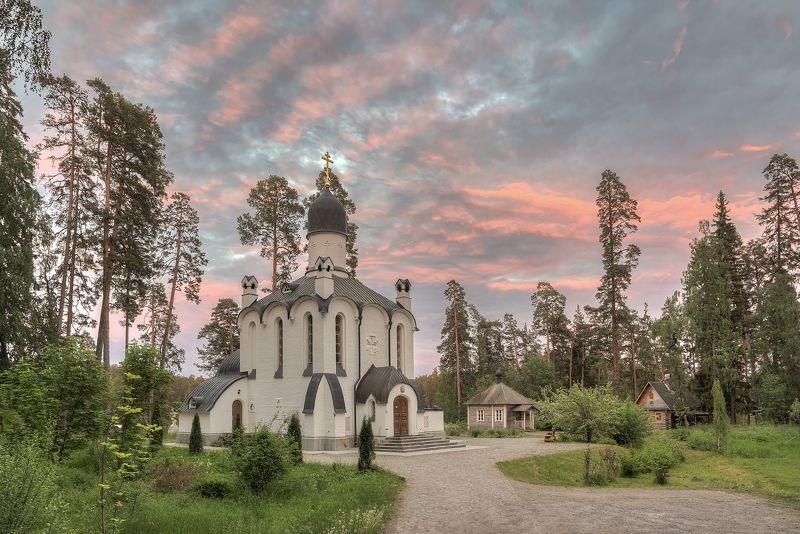 лето, вечер, озеро, церковь, скит photo preview