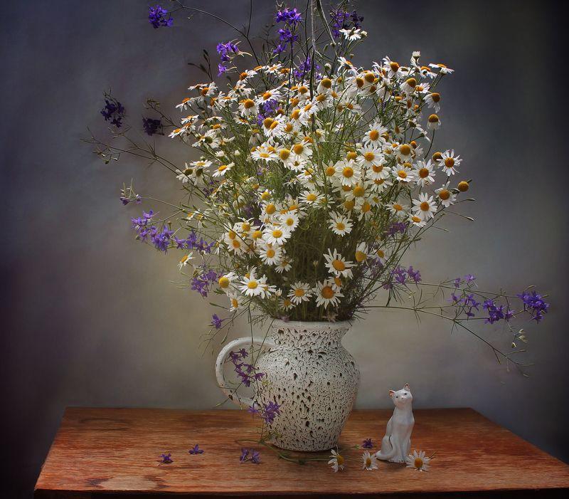 натюрморт, лето, ромашки, полевые, цветы, статуэтка, кошка Про ромашкиphoto preview