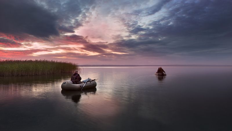 лето, восход,озеро, небо,лодки, рыбаки, Рыбалка на заре...photo preview