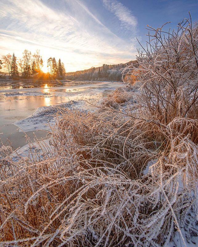зима, рассвет, река Утро на реке Оятьphoto preview