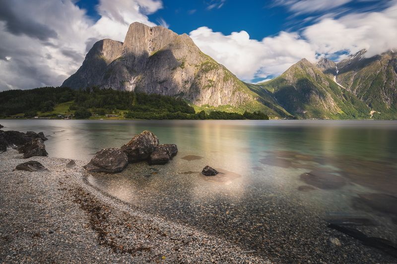 mountains,lake,lakeside,eikesdalsvatnet,norway,nature,landscape,long exposure, Summertime by the Eikesdalsvatnet, NO фото превью