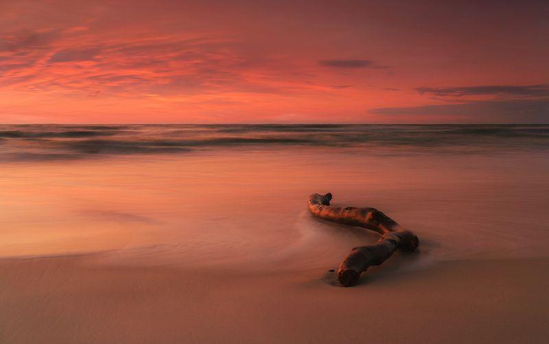 sea, landscape, poland, sky, sunset, red, cloud, long, exposure Woodphoto preview