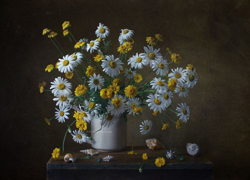 натюрморт, цветы, букет, лето, ромашки Ромашковыйphoto preview