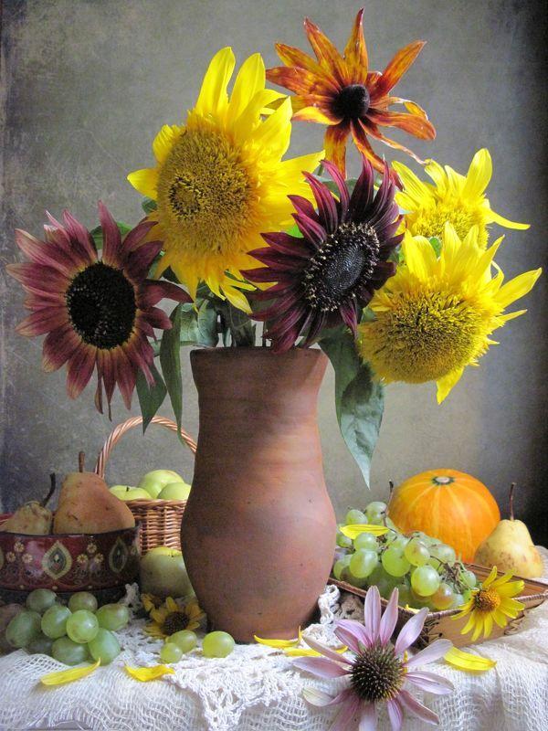 цветы, букет, подсолнухи, топинамбур, эхинацея, фрукты, виноград, груши, яблоки, тыква С подсолнухамиphoto preview