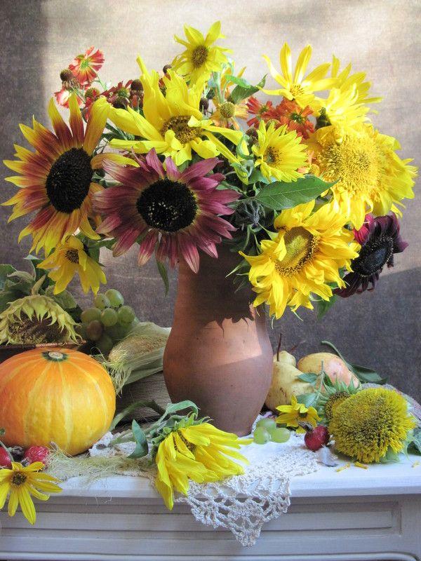 цветы, букет, подсолнухи, топинамбур, тыква Солнечныйphoto preview
