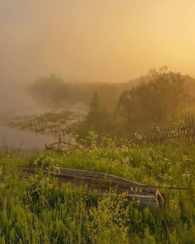 лодка, река, туман, рассвет Туманное утроphoto preview