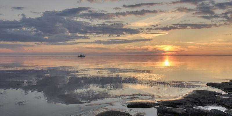 лето, вечер, озеро, ладога, архипелаг photo preview