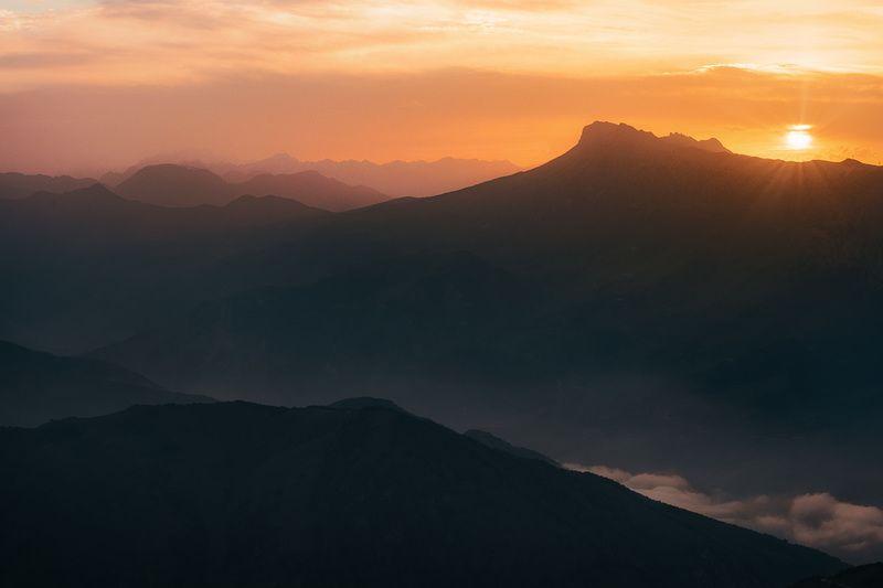 горы, перевал, архон, осетия, природа, лето, кавказ,  закат, пейзаж, Закат на перевалеphoto preview