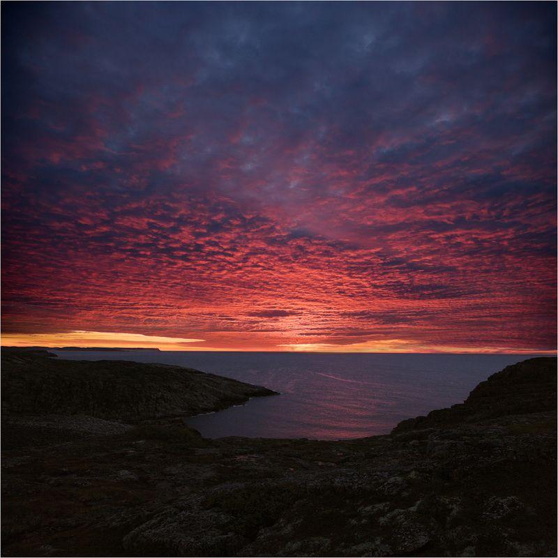 закат над морем Баренцево мореphoto preview