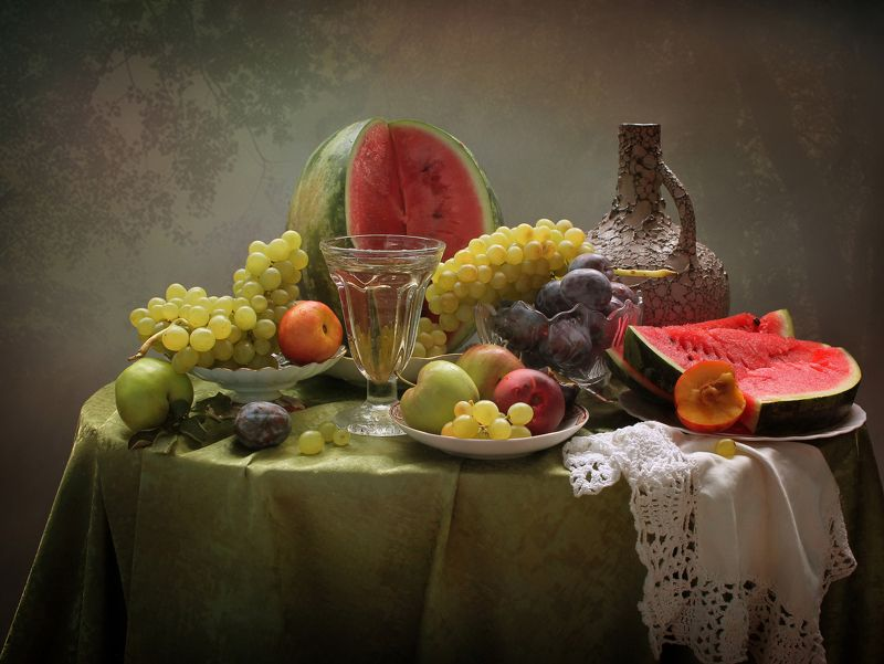 лето, фрукты, арбуз, виноград, сливы, кувшин, нектарины Роскошь июляphoto preview