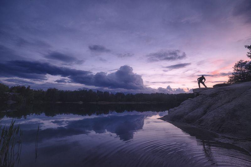 пейзаж, коростышевский карьер, закат, облака, силуэт, тишина, безмолвие, умиротворение, гармония, безмятежность, отражение, адвайта, коростышев, украина, фотограф чорный, \