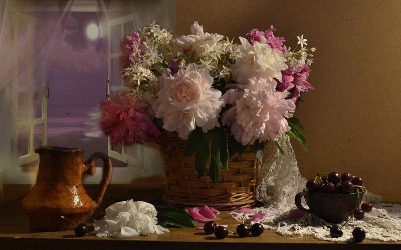 still life, натюрморт, цветы, фото натюрморт, пионы, настроение, лето, июнь, пионы, корзина, керамика Июньский бренд...photo preview