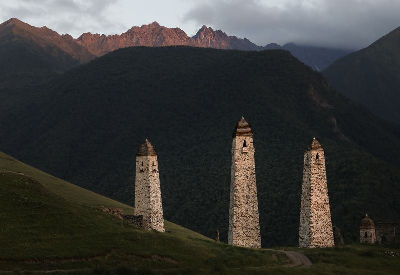 russia, caucasus, ingushetia, tower, towers, watch tower, architecture  Medieval fortress towers of Ingushetiaphoto preview
