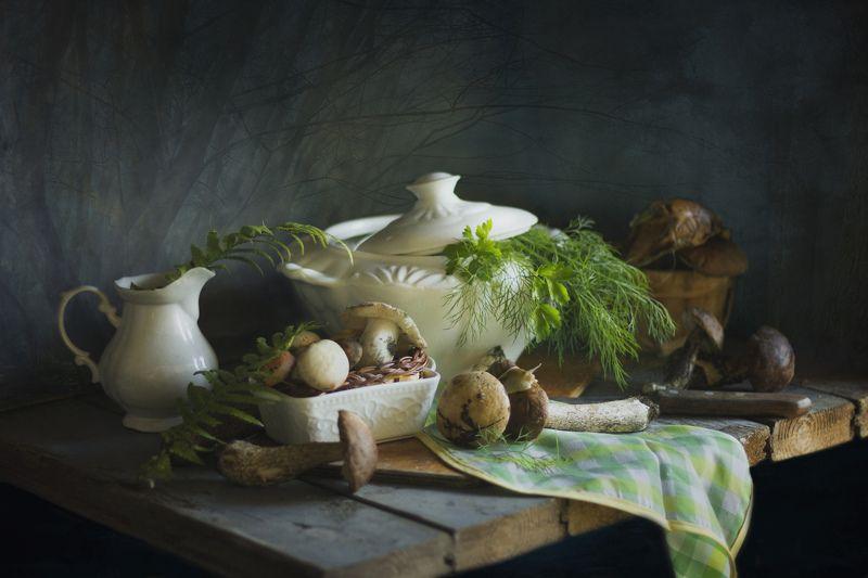 грибы, лес, натюрморт, супница Подберёзовикиphoto preview