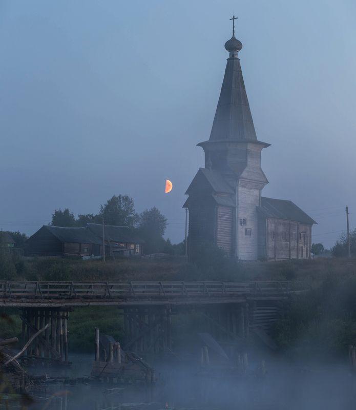 вологодская область, луна, деревня, лето, туман, белая ночь, церковь Ночь на погостеphoto preview