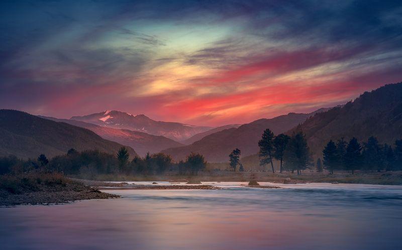 пейзаж, природа, закат, вечер, река, речка, облака, небо, горы, степь, самаха, деревья, вода, отражения, красный, алтай Коксуphoto preview