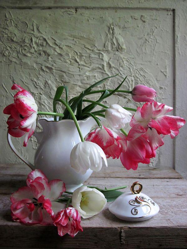 цветы, букет, тюльпаны, кувшин, фарфор Реверансphoto preview