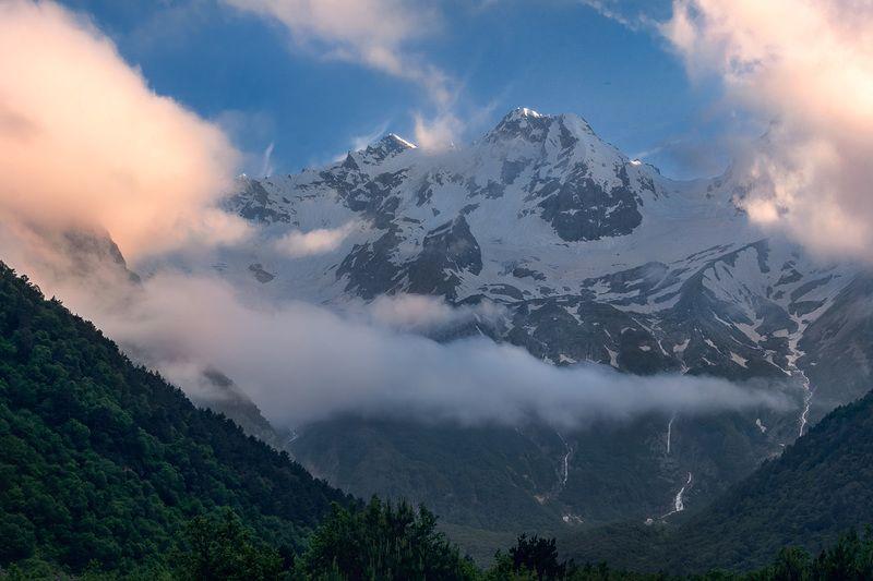 горы, закат, таймази, рсоа, природа, лето, кавказ, пейзаж, туман, облака, дигория, Горный массив Таймази, Северная Осетияphoto preview
