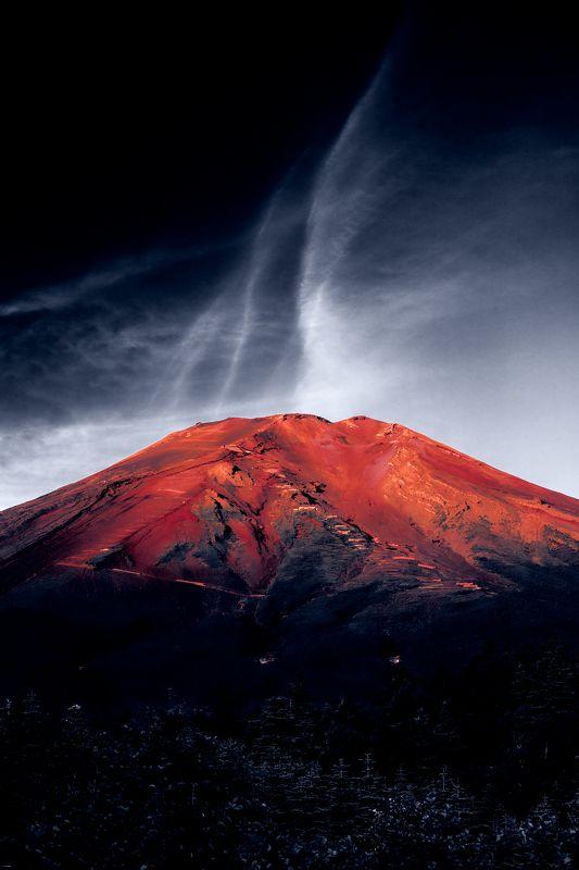 Fuji,mountain,red,cloud,Japan Breath of Mount Fujiphoto preview