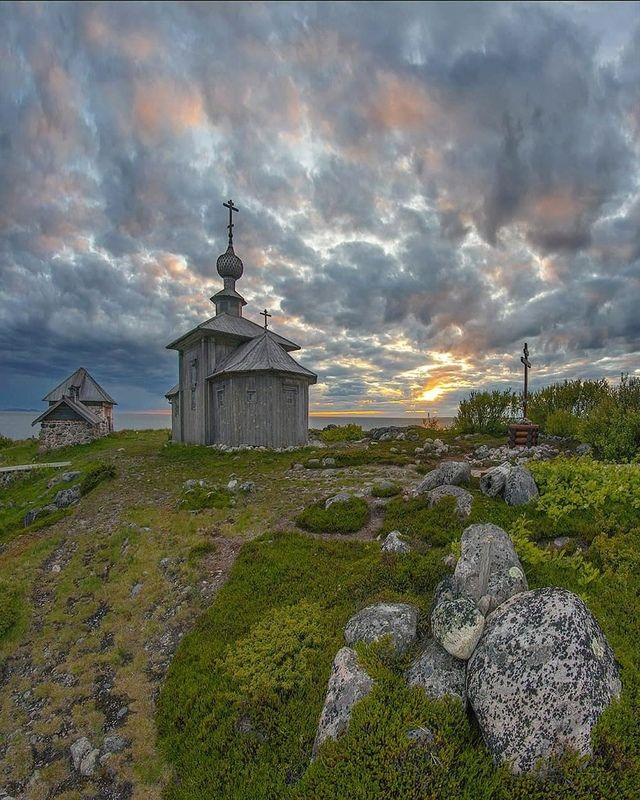 соловки, церковь, закат, белоеморе, остров Закат на Большом Заяцком островеphoto preview