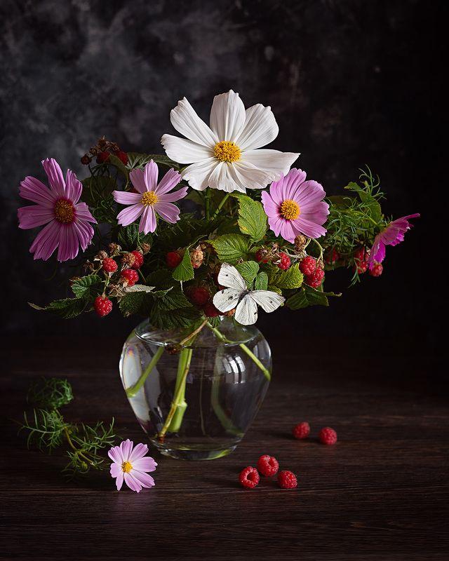 космея малина цветы букет натюрморт фотонатюрморт Июльphoto preview