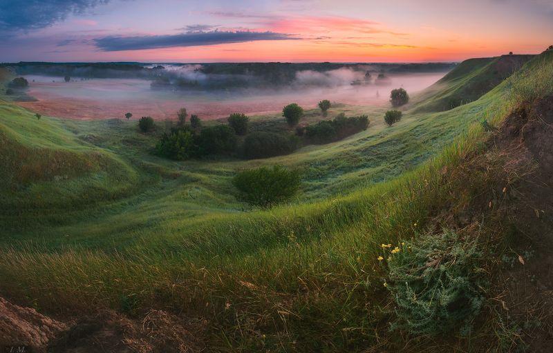 рассвет, туман, пейзаж, лето, июль, долина, утро, панорама, foggy, холмы, misty, dawn, summer, fog, valley, landscape, panorama, july, soft, hills soft dawn of July ..photo preview