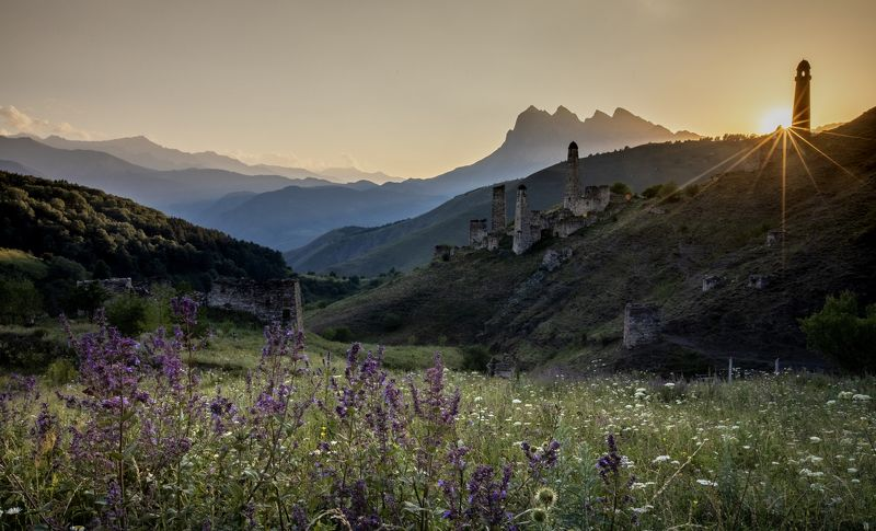 sun, sunset, mountain, mountains, russia, caucausus, nature, landscape Sunset in Ingushetia\'s mountainsphoto preview