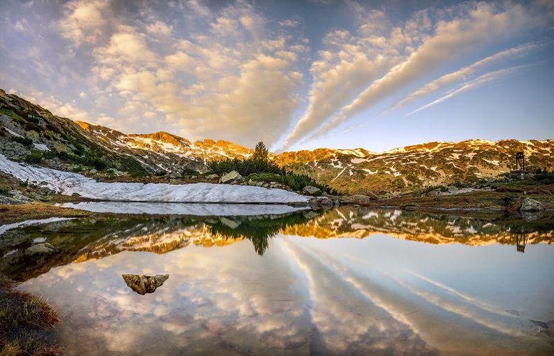landscape, nature, scenery, summer, peak, lake, reflection, sunrise, morning, dawn, snow, mountain, bulgaria, весна, горы Morning in Sredna Rilaphoto preview