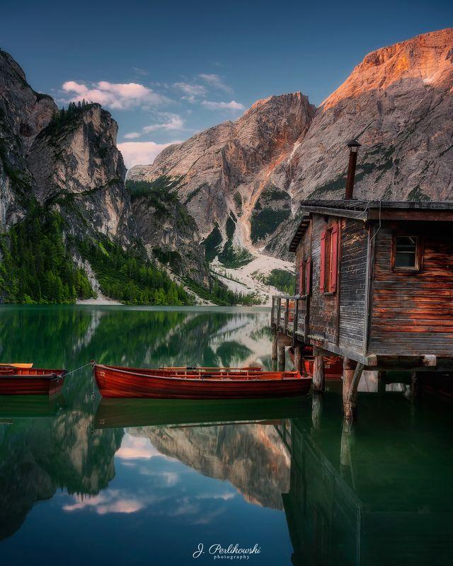 dolomites, alps, mountains, lake Quiet morningphoto preview