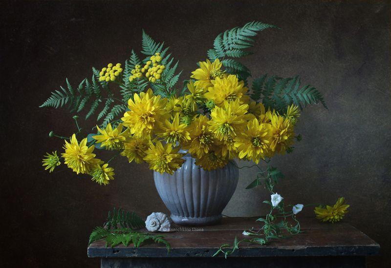 натюрморт, цветы, золотые шары, рудбекия, букет пора золотых шаровphoto preview