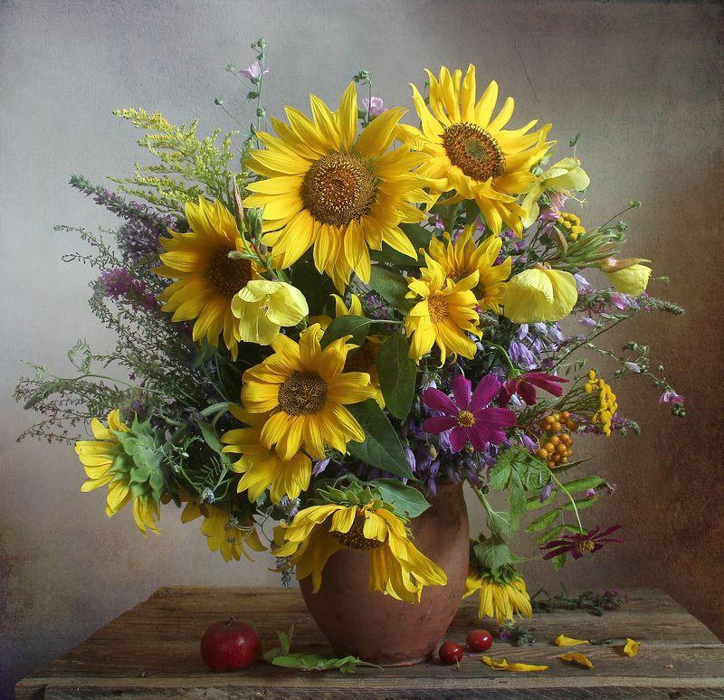 лето,  цветы, натюрморт, марина филатова, подсолнухи Отблески летаphoto preview