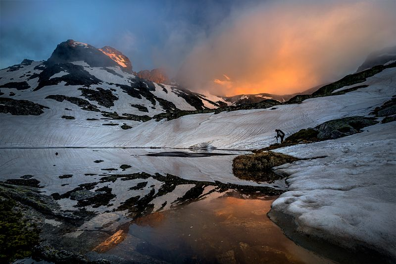 landscape nature scenery spring peak lake sunset evening snow ice reflection mountain bulgaria весна горы Sunset thrills in Rila mountainphoto preview